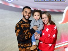 Aston Merrygold and Sarah with their son Grayson (Ian West/PA)