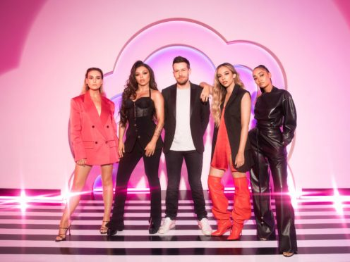 Host Chris Ramsey with Little Mix (Zoe McConnell/BBC/PA)