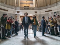 Sacha Baron Cohen as Abbie Hoffman and Jeremy Strong as Jerry Rubin in The Trial Of The Chicago 7 (Nio Tavernise/Netflix)