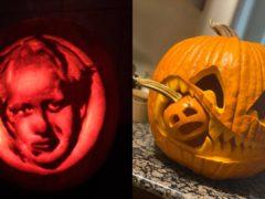 Two of 2020's best pumpkins, including a Boris Johnson lantern (Sam Lynam and TOLIY)
