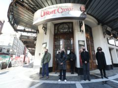 The 'silent stand' on behalf of the UK theatre industry outside the Gielgud Theatre, in Shaftesbury Avenue (Yui Mok/PA)