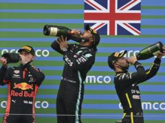 Mercedes driver Lewis Hamilton is hoping to taste more champagne on Sunday (AP)
