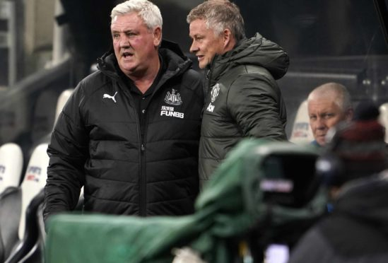 Steve Bruce (left) has hailed Newcastle fans who donated to a food bank rather than pay a pay-per-view fee to watch the match against Manchester United.