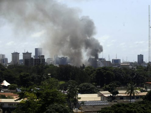 Smoke rises from the Ikoyi Correctional Centre in Lagos (Sunday Alamba/AP)