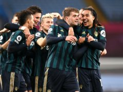 Bamford, second right, celebrates his second goal last week at Villa Park (Laurence Griffiths/PA)