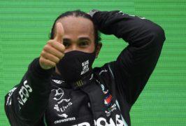 Lewis Hamilton celebrates his 92nd win (Rudy Carezzevoli, Pool via AP)