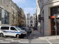 In this photo provided by Tom Vannier, police are at the scene of an attack in Nice, France, Thursday, Oct. 29, 2020. An attacker armed with a knife killed three people at a church in the Mediterranean city of Nice, the third attack in two months in France. The assailant was shot by police and hospitalised after the killings at the Notre Dame Church on Thursday. (Tom Vannier/AP)