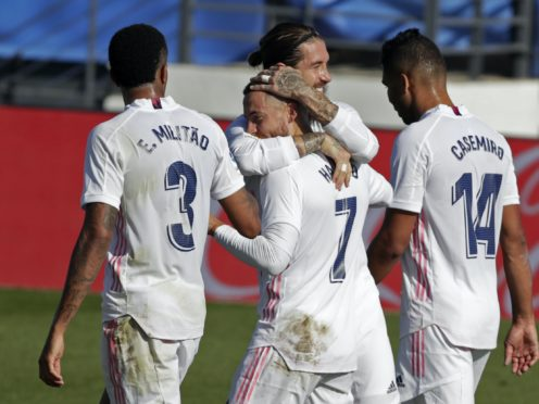 Eden Hazard, centre, scored his first Real Madrid goal of 2020 (Manu Fernandez/AP)