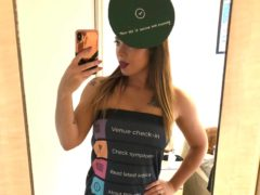 Sarah Sumeray in her app-inspired dress (Sarah Sumeray/PA)
