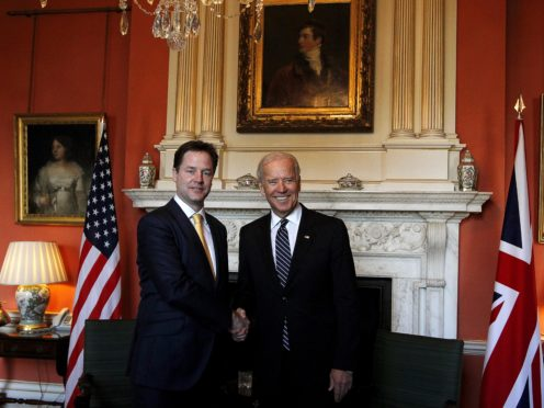 Nick Clegg and Joe Biden in Downing Street during the coalition government years (Kerim Okten/PA)