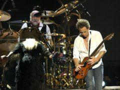 Stevie Nicks, Mick Fleetwood (on drums) and Lindsay Buckingham (PA)