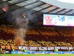 Motherwell fans at Hampden in the 2017-18 Betfred Cup final (Andrew Milligan/PA)