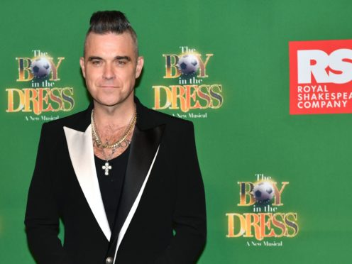 Robbie Williams attending the opening night of The Boy In The Dress (Jacob King/PA)
