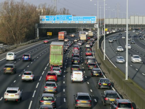 Traffic on the M25, as people head out of London for Christmas.
