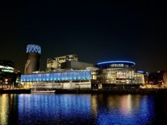 The Lowry lit up in blue in a gesture of thanks to NHS staff (The Lowry/PA)