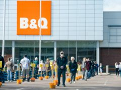 Customers queue to enter the Solihull B&Q (Jacob King/PA)