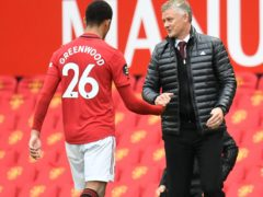 Manchester United manager Ole Gunnar Solskjaer is backing Mason Greenwood to soon be back to his best (Peter Powell/NMC pool).