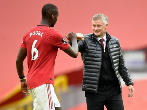 """Ole Gunnar Solskjaer, right, said Paul Pogba was """"very unlikely"""" to be fit to face Southampton (Peter Powell/NMC Pool/PA)"""