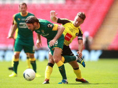 Harrogate's Josh Falkingham (right) was sent off against Newport (Adam Davy/PA).