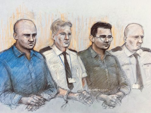 Court artist sketch of Gheorghe Nica (left) and Eamonn Harrison (right)(Elizabeth Cook/PA)