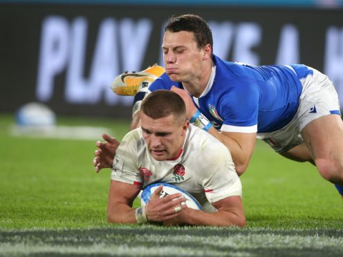 Henry Slade dives in to score a try (Marco Lacobucci/PA)