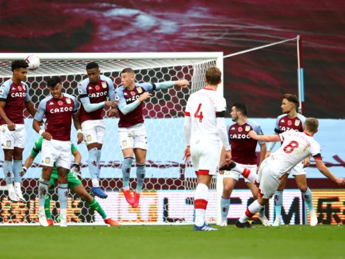 James Ward-Prowse (right) scores the second of his two freekick goals in a 4-3 Southampton win against Aston Villa (Nick Potts/PA Images).