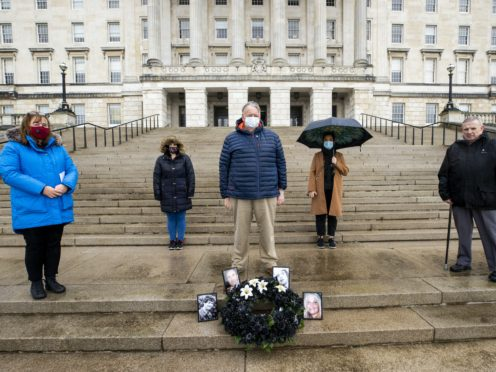 Families of those murdered and buried in secret during Northern Ireland's armed conflict have laid a wreath at the steps of Stormont (Liam McBurney/PA)