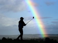 A golfer teeing off at Crosland Heath Golf Club in Huddersfield, as the club prepared to close due to the national lockdown in England (Danny Lawson/PA)