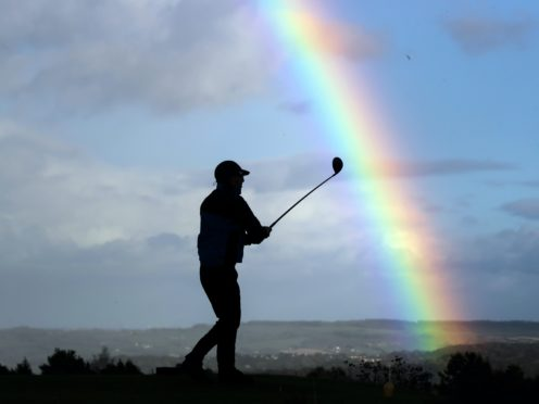 A golfer at Crosland Heath Golf Club in Huddersfield before lockdown measures came into force (Danny Lawson/PA)