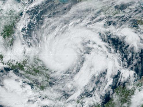 A satellite image shows Hurricane Eta in the Gulf of Mexico approaching Honduras and Nicaragua (NOAA via AP)