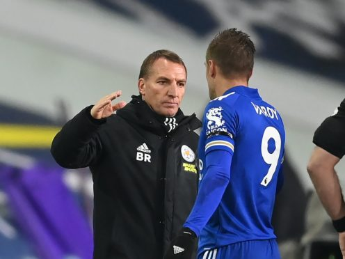 Leicester manager Brendan Rodgers congratulates Jamie Vardy (Michael Regan/PA)
