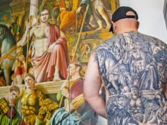 Jamie Wright, who has had a copy of The Art Of The Game painting tattooed on to his back (Peter Byrne/PA)