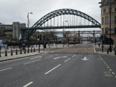 Empty streets in Newcastle as the four-week national lockdown in England begins (Owen Humphreys/PA)