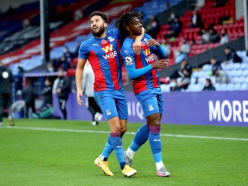 Ebere Eze, right, scored his first goal for Crystal Palace and in the Premier League during the 4-1 win over Leeds (Naomi Baker/PA)