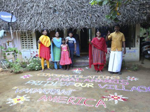 A Kolam, a traditional art work using coloured powder, congratulating US Vice President-elect Kamala Harris in the hometown of Harris' maternal grandfather, in Thulasendrapuram (Aijaz Rahi/AP)