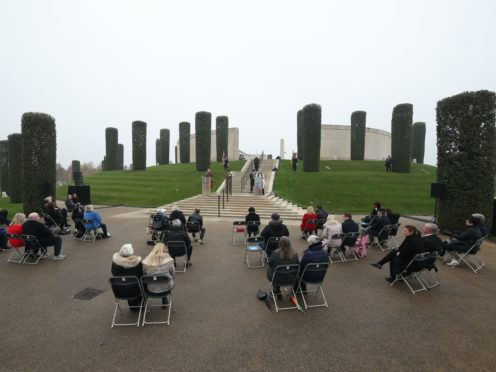 Pre-booked visitors at the National Memorial Arboretum in Alrewas, Staffordshire (Danny Lawson/PA)