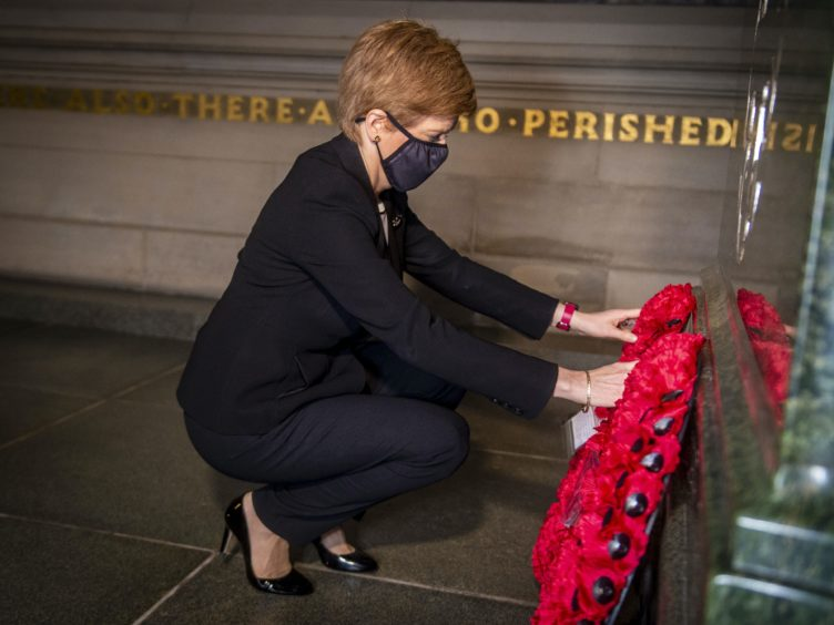 First Minister Nicola Sturgeon said she was honoured to lay a wreath on behalf of the people of Scotland on Remembrance Sunday (Mark Owens/Legion Scotland/PA)