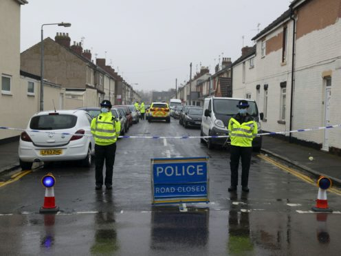 Police remain at Summers Street in Swindon (Steve Parsons/PA)