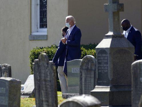 President-elect Joe Biden leaves St Joseph on the Brandywine Catholic Church on Sunday (Carolyn Kaster/AP)