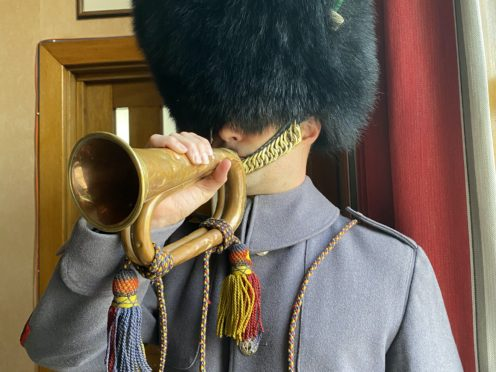 Lance Sergeant Stuart Laing, from the 1st Battalion Welsh Guards, with the bugle (MoD/PA)