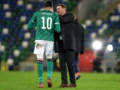 Ian Baraclough consoled Kyle Lafferty after Northern Ireland's defeat (Brian Lawless/PA)