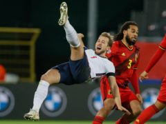 Harry Kane earned his 50th cap in the defeat by Belgium (Bruno Fahy via Belga/PA)
