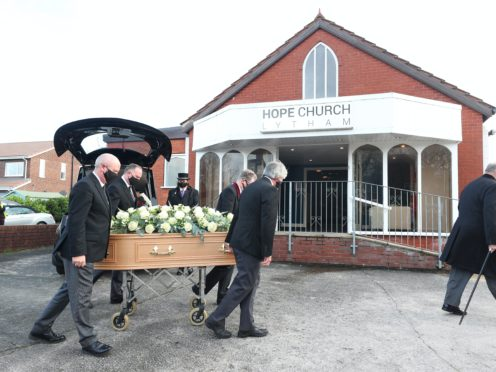 The coffin of entertainer Bobby Ball is taken into Hope Church in Lytham Saint Annes, Lancashire (Peter Byrne/PA)