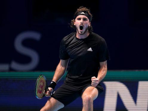 Stefanos Tsitsipas roars after beating Andrey Rublev (John Walton/PA)