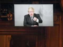 Boris Johnson appearing via video link from Downing Street (UK Parliament/Jessica Taylor)