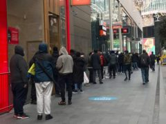 People queuing for the new Sony PS5 outside GAME at Westfield in Stratford (@AussieHarj/Twitter/PA)