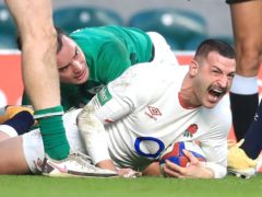 England's Jonny May celebrates scoring against Ireland at Twickenham (Adam Davy/PA)