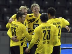 Erling Braut Haaland (centre) scored four goal as Borussia Dortmund thrashed Hertha Berlin (Soeren Stache/dpa via AP)
