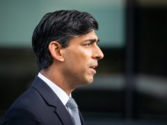 Chancellor of the Exchequer Rishi Sunak is interviewed via videolink for Sky News' Sophy Ridge on Sunday, outside BBC Broadcasting House in central London (Dominic Lipinski/PA)