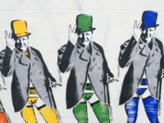 A mural of wartime leader Sir Winston Churchill wearing stockings and suspenders (Gareth Fuller/PA)
